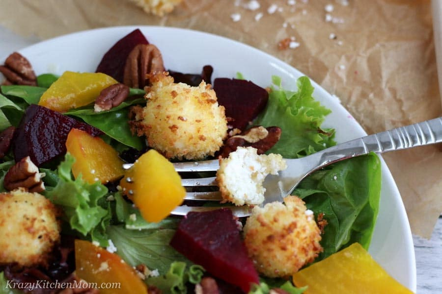 Goat cheese salad with fork