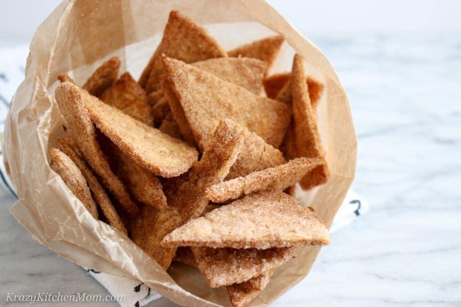 Baked Cinnamon Sugar Chips in a bag
