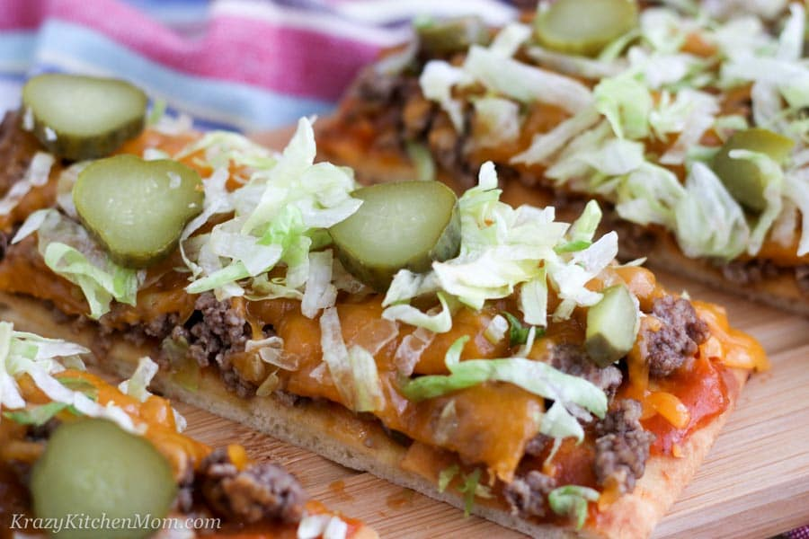 Cheeseburger Flatbread Pizza Sliced
