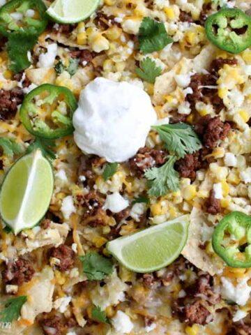 Tray of Mexican Street Corn Nachos