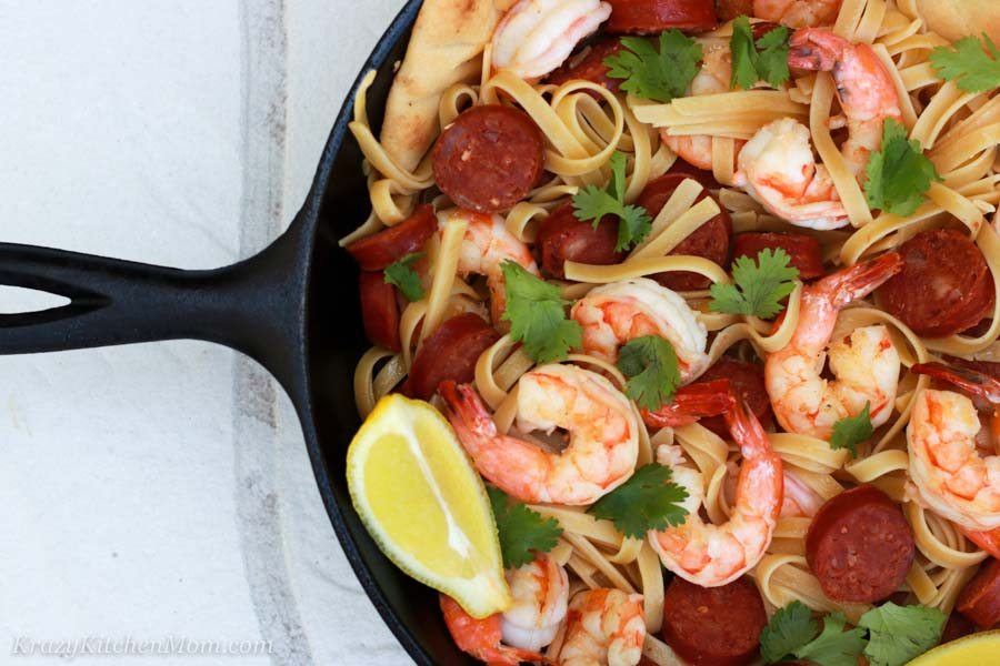 Shrimp and Chorizo Pasta half of pan