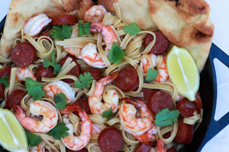 Shrimp and Chorizo Pasta close up