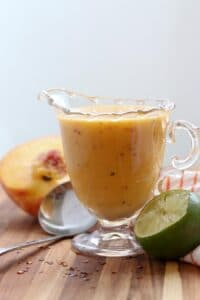 Grilled Peach Salad Dressing in a serving dish