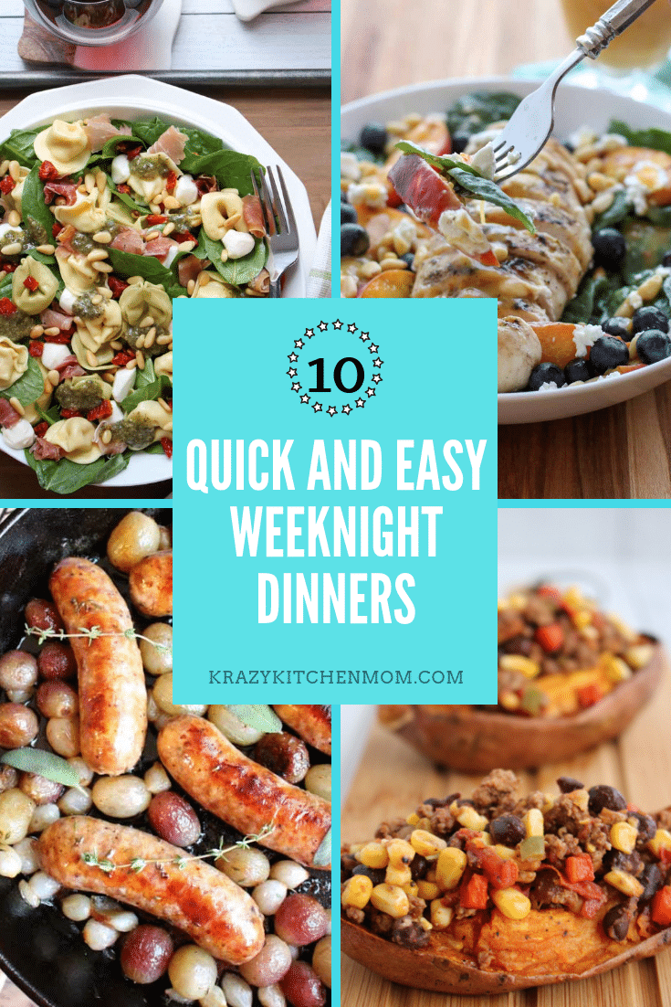 It's back to school time and everyone is busy so I have Ten delicious quick and easy weeknight dinner recipes that everyone is going to love. via @krazykitchenmom