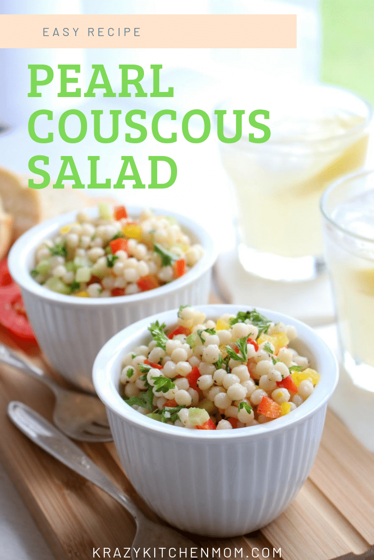 This Pearl Couscous Salad is light and full of fresh bell peppers, celery, and parsley tossed in a light lemon and olive oil dressing. Perfect for a summer picnic.  via @krazykitchenmom