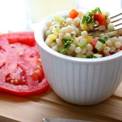 Pearl Couscous Salad close up