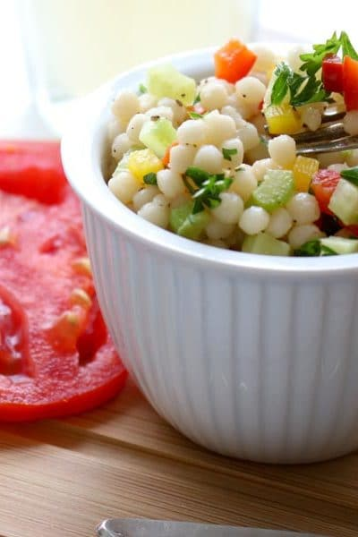 Pearl Couscous Salad close up