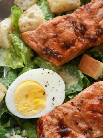 Bourbon Glazed Salmon Cesar Salad