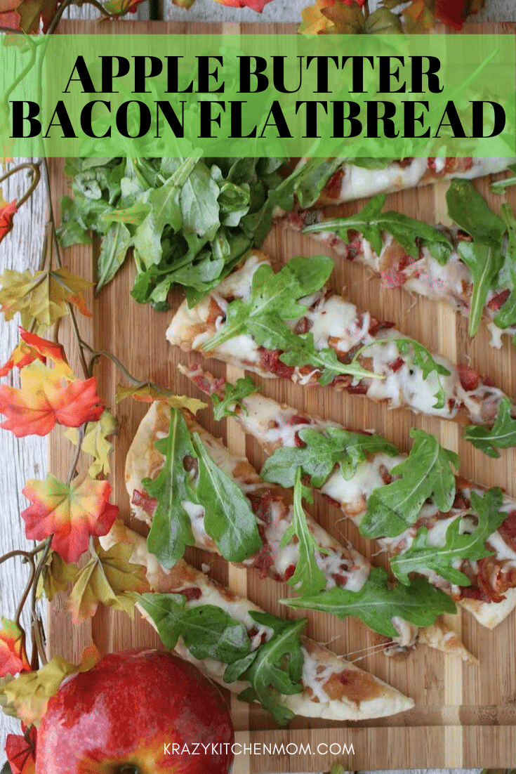 This Apple Butter Bacon Flatbread is crispy from the flatbread, sweet from the apple butter, salty from the bacon, and creamy from the cheese. via @krazykitchenmom