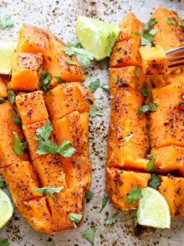 Chili Honey-Lime Roasted Sweet Potatoes on a sheet pan