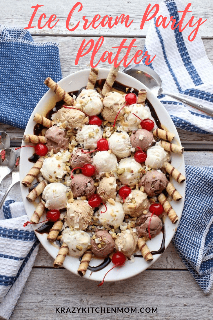 Make your next get-together a success with this make-ahead Ice Cream Party Platter. Four delicious flavors of ice cream with all the fixings! via @krazykitchenmom