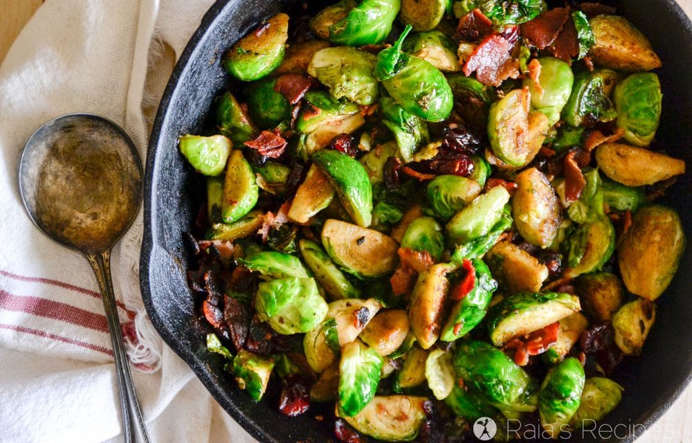 Pan Fried Brussels Sprouts with Bacon and Dried Cranberries