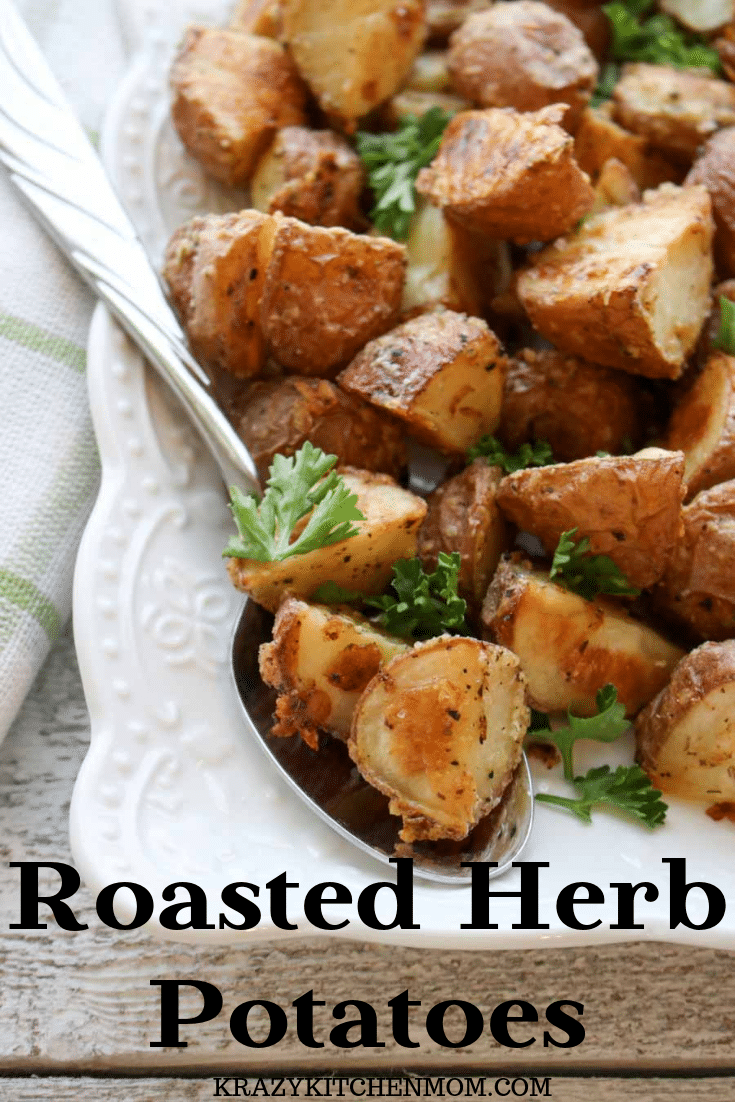 Crispy Roasted Herb Potatoes - soft, crispy, cheesy, herby roasted potatoes. These are perfect as a side dish or an appetizer with dipping sauce. via @krazykitchenmom