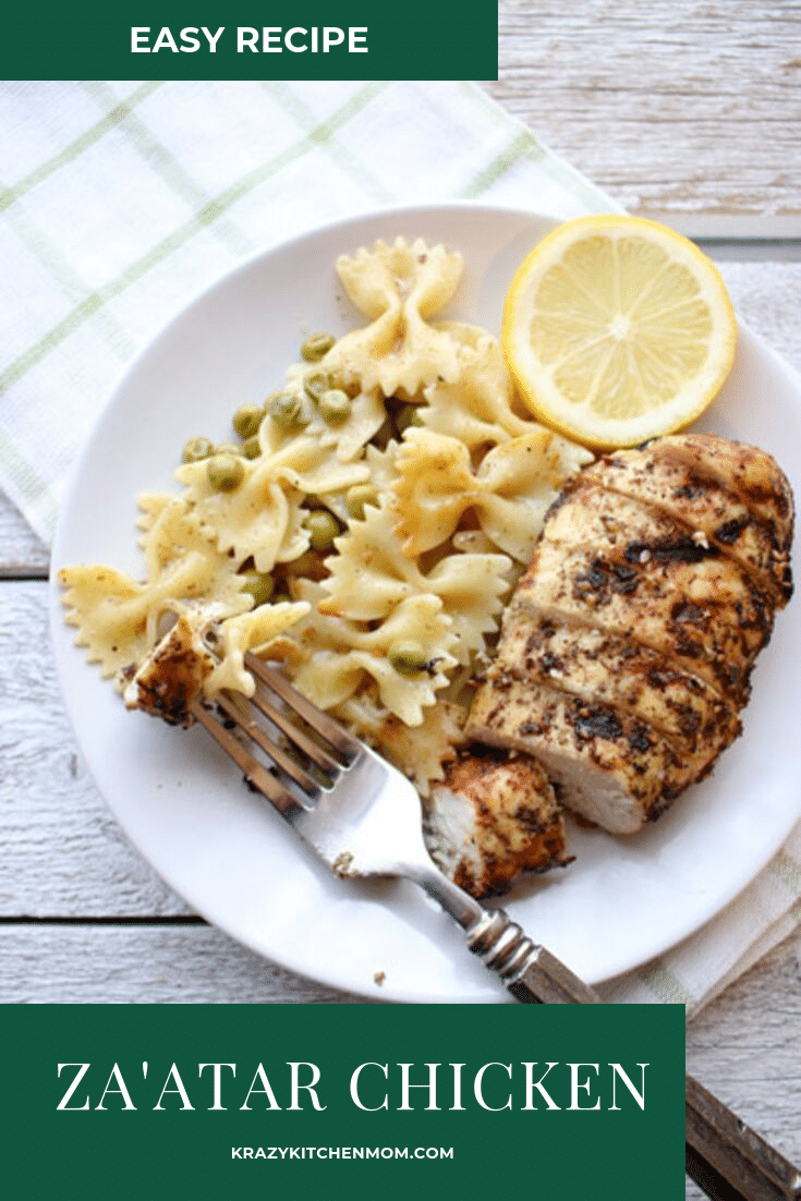 Za'atar Grilled Chicken and Pasta is a recipe made with chicken breasts that are marinated in Za'atar seasoning, lemon and olive oil.  via @krazykitchenmom