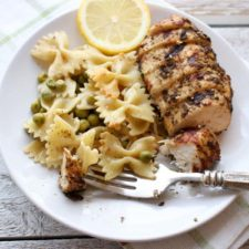za'atar grilled chicken and pasta on the side