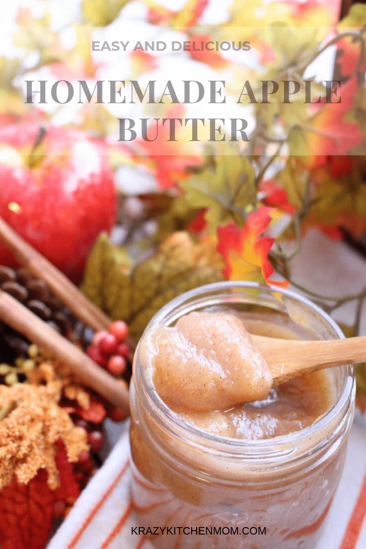 My Homemade Apple Butter is rich and sweet. I make it on the stove-top so you don't need any extra kitchen equipment. And you won't believe how good your house smells when it's cooking! via @krazykitchenmom