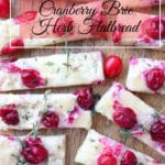 Three Cheese Cranberry Flatbread sliced on a tray