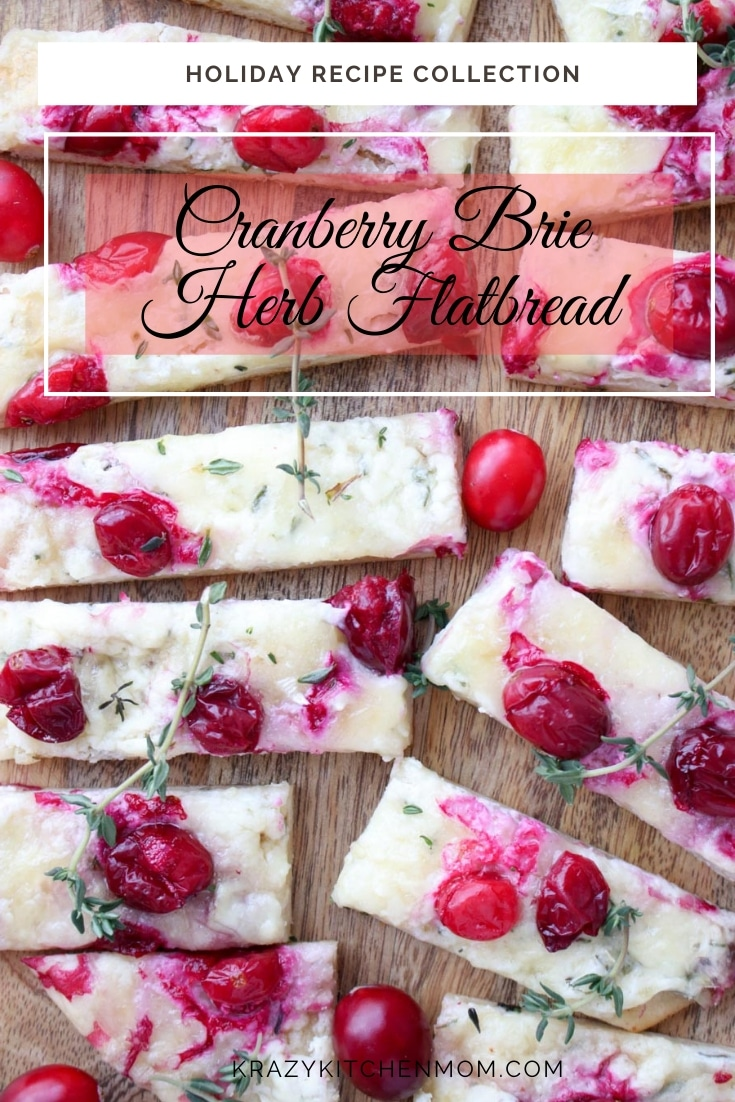 My Three Cheese Cranberry Flatbread is creamy, cheesy and a bit tart from the cranberries. It's the perfect holiday appetizer and is ready in minutes. via @krazykitchenmom