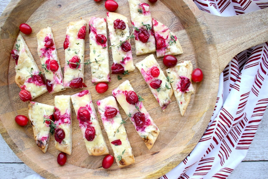 cranberry brie herb flatbread slices