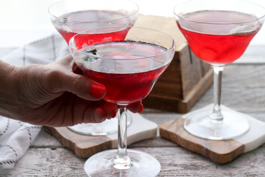 Cranberry Sage Martini with hand holding glass