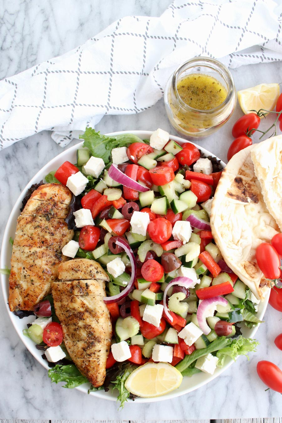 Greek Chicken Salad overhead shot