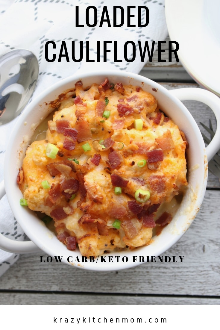 Loaded Cauliflower Casserole is a hearty low carb/keto diet-friendly dish. It's made with steamed and roasted cauliflower packed with cheesy and bacon goodness.  via @krazykitchenmom