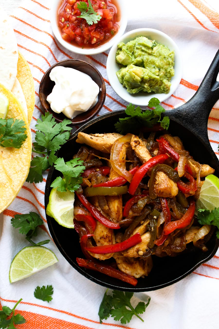 TEQUILA CHICKEN FAJITAS IN SKILLET