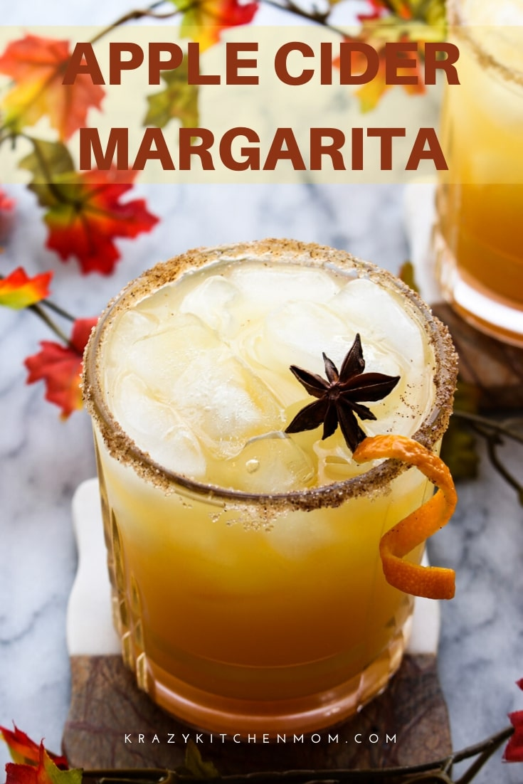 Here it is...the best Apple Cider Margaritas you'll ever taste! Apple cider, tequila, triple sec and a splash of a secret ingredient with a cinnamon sugar rim, of course.  via @krazykitchenmom