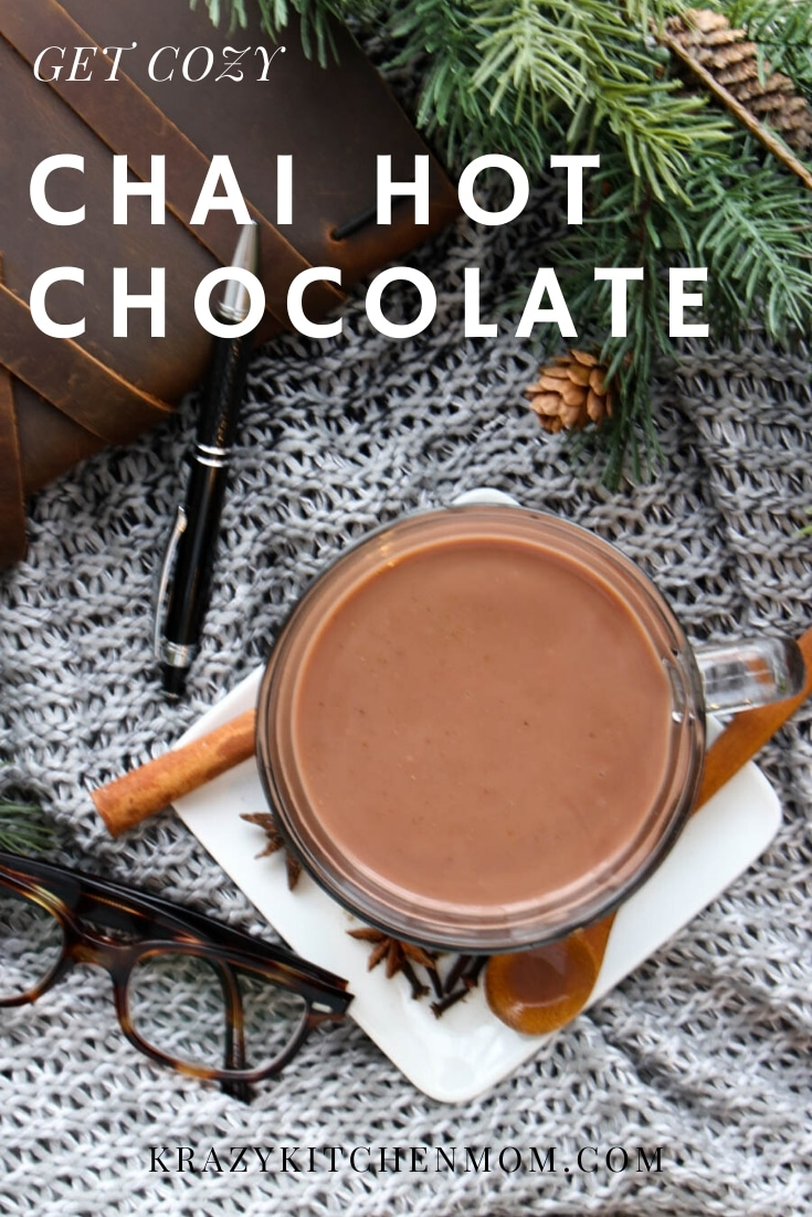 Get cozy this winter with a warm glass of Easy Chai Hot Chocolate. Made with chocolate almond milk and warm spices to keep you warm all day. via @krazykitchenmom