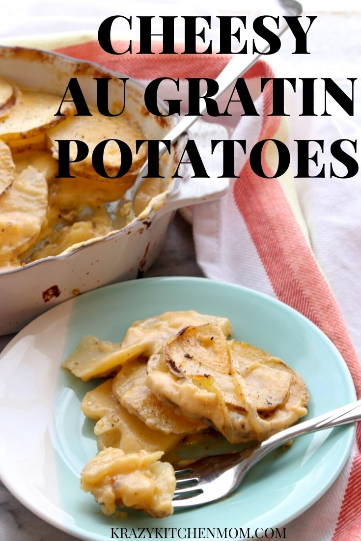 Cheesy Au Gratin Potatoes - thinly sliced potatoes and onion cooked in a creamy cheese sauce. via @krazykitchenmom