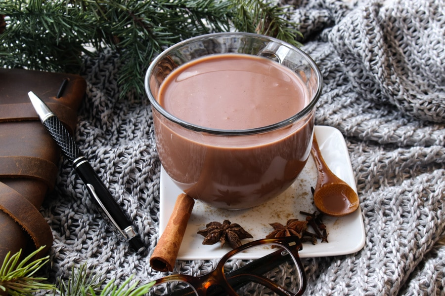 Glass mug of Chai Hot Chocolate