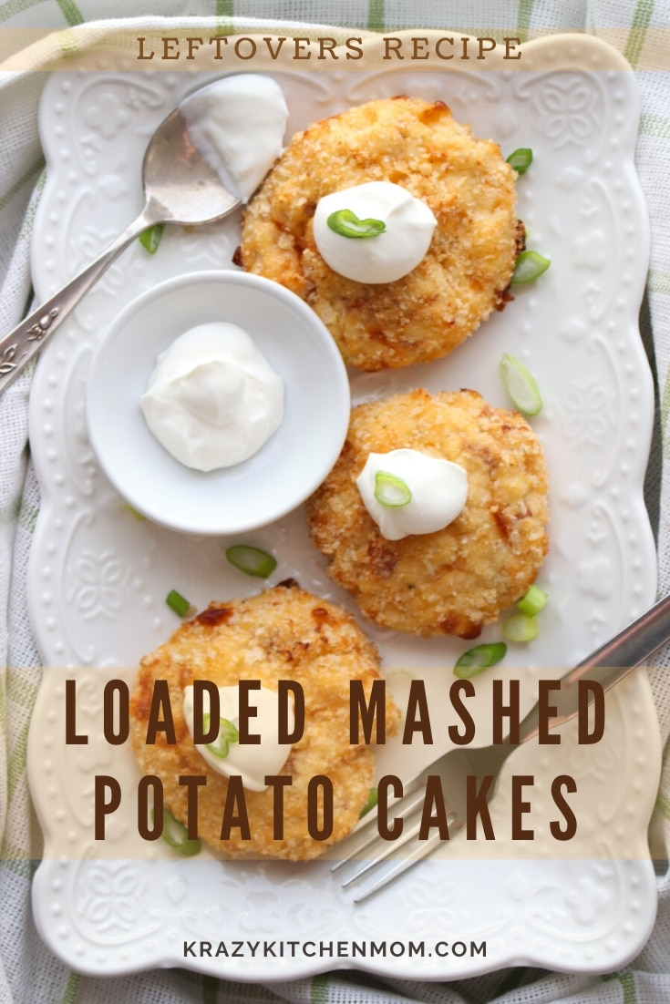 Loaded Mashed Potato Cakes are one of the best ways to use up leftover mashed potatoes. We've loaded these with ham, cheese, and sour cream. via @krazykitchenmom
