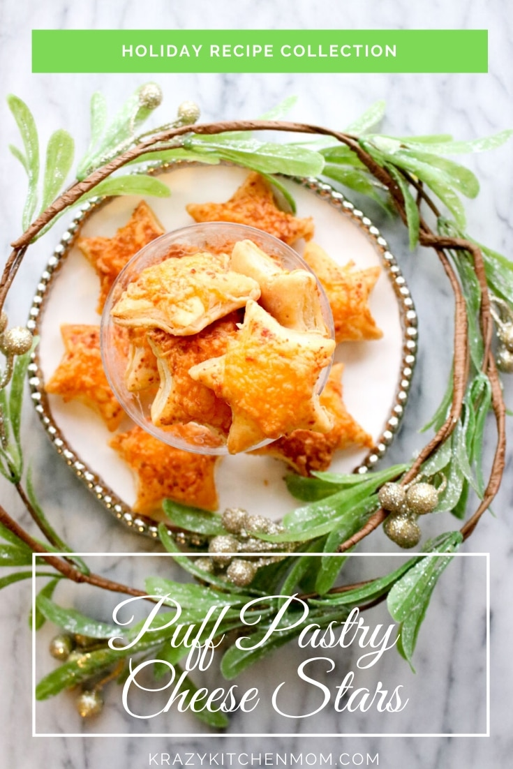 Puff Pastry Cheese Stars are an easy snack that anyone can make. I used store-bought puff pastry and cheddar cheese. Perfect for the holidays. via @krazykitchenmom