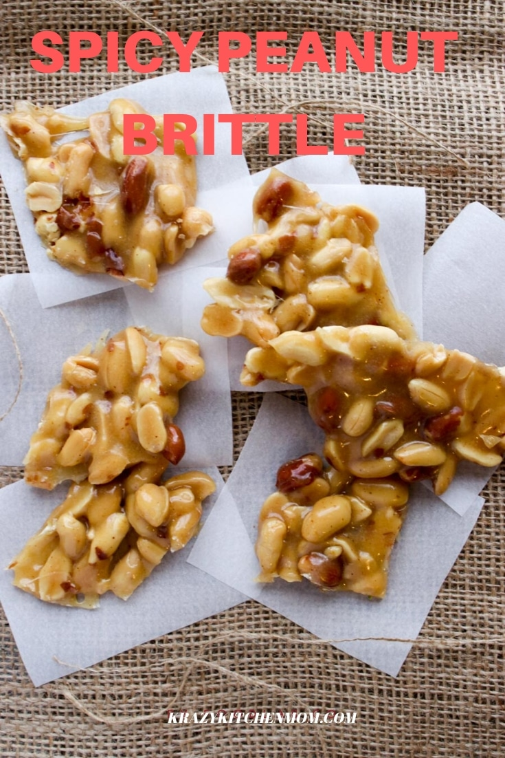 My Spicy Peanut Brittle recipe starts with the sweet and ends with the heat. It's a kicked-up version of traditional peanut brittle.  via @krazykitchenmom