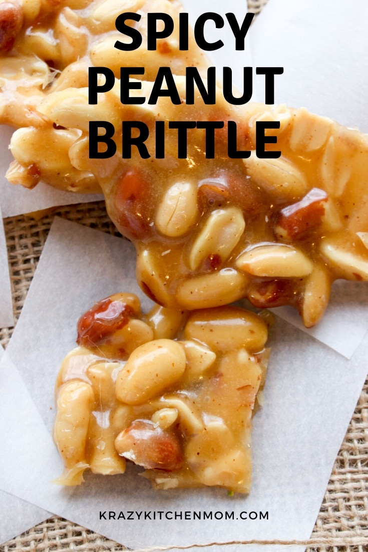 My Spicy Peanut Brittle recipe starts with the sweet and ends with the heat. It's a kicked-up version of traditional peanut brittle with no candy thermometer needed. via @krazykitchenmom