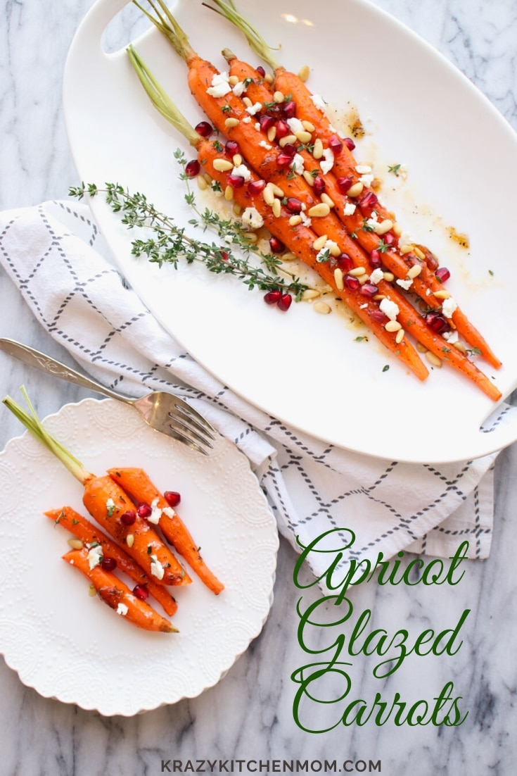 Apricot Honey Glazed Carrots are roasted and glazed with an apricot jam, honey, and balsamic sauce served with goat cheese, pine nuts and pomegranate.  via @krazykitchenmom