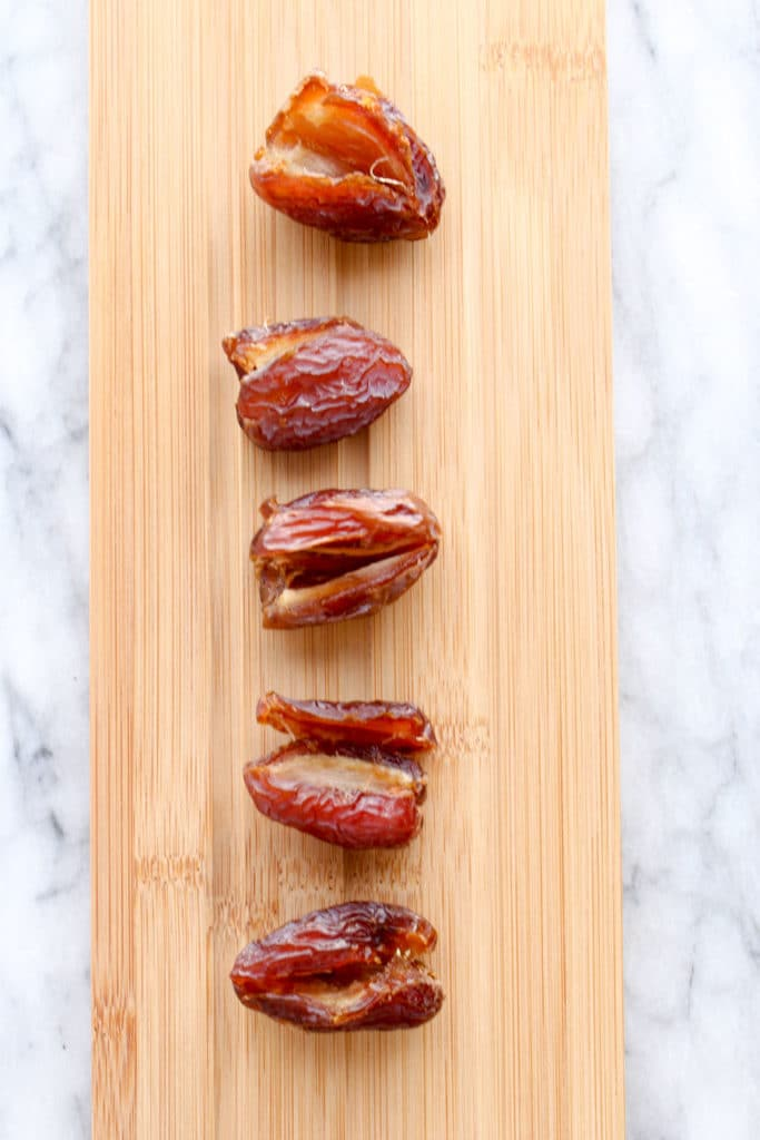 Dates only on a cutting board