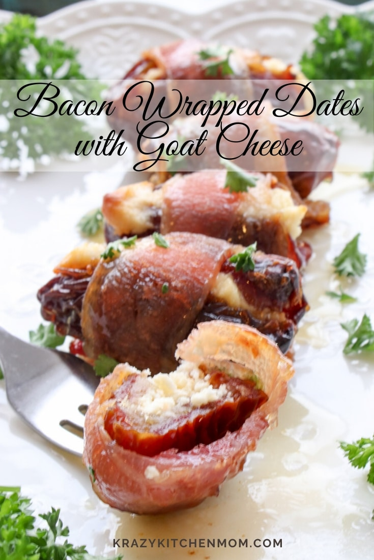 Bacon-Wrapped Dates Stuffed with Goat Cheese are smoky, sweet, creamy. They are the perfect appetizer for a fancy party or a casual get together. via @krazykitchenmom