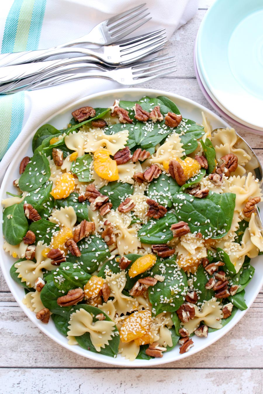 Spinach pasta salad in serving bowl