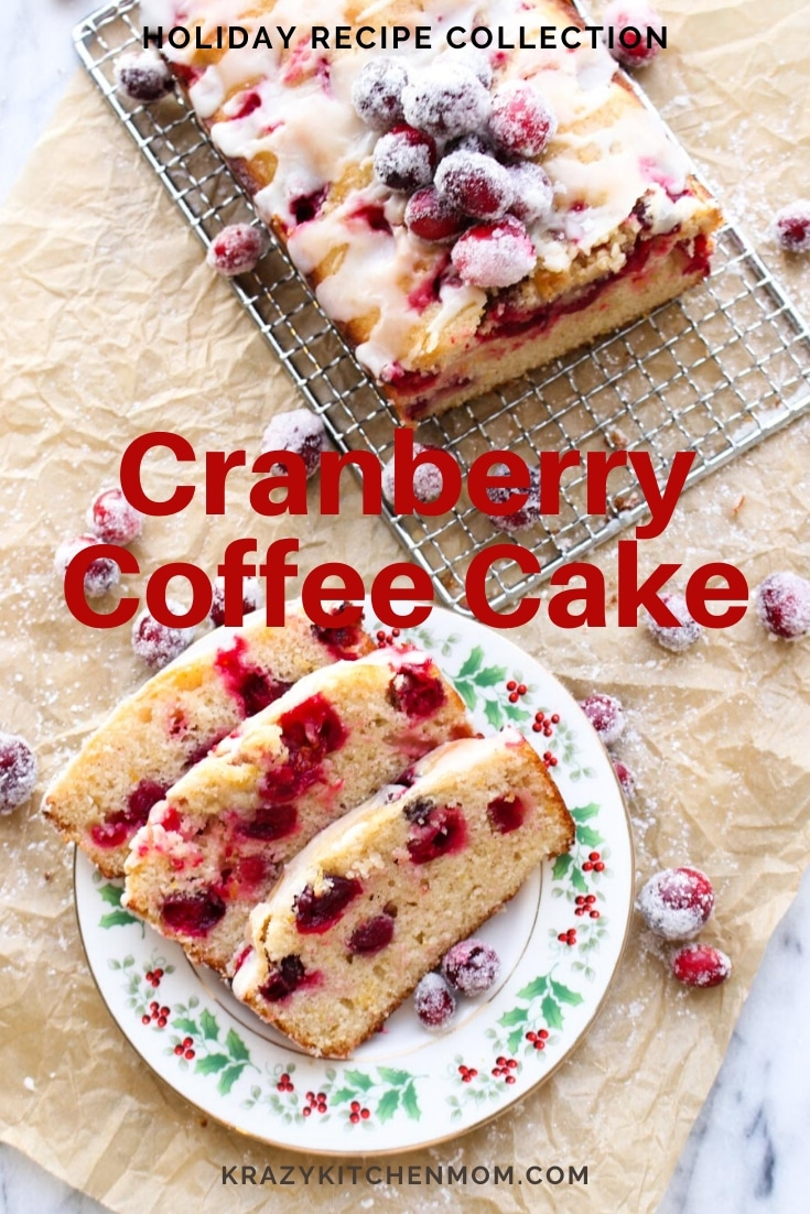 My Cranberry Orange Coffee Cake is made with Greek yogurt, cinnamon, cardamom, and orange zest. And it's full of zesty fresh cranberries. via @krazykitchenmom