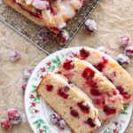 CRANBERRY COFFEE CAKE WITH ONE SLICE CUT