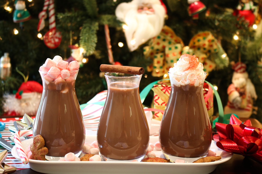 three different bottles of hot cocoa