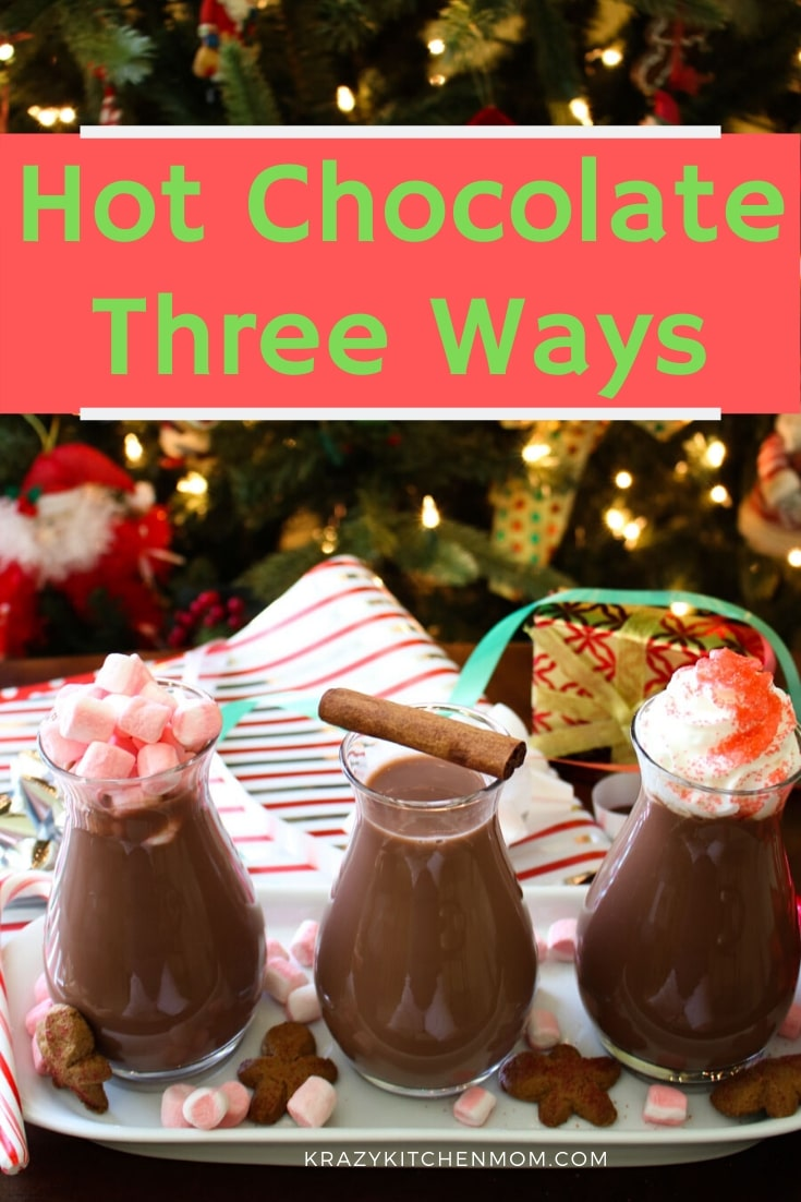 Hot Chocolate Three Ways is made with Chocolate Almond Milk. It's like having a flight of chocolate milk with three different flavors. via @krazykitchenmom