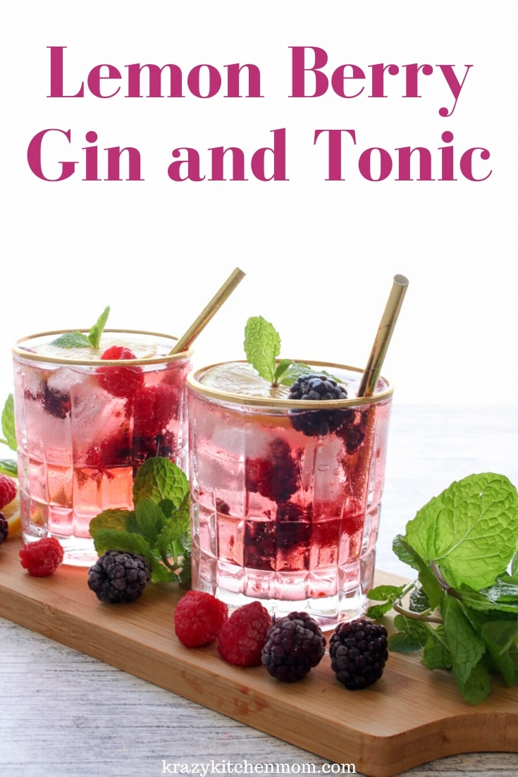 Lemon Berry Gin and Tonic is a refreshing cocktail made with premium gin, citrus tonic water, raspberries, blackberries, and fresh lemons. via @krazykitchenmom