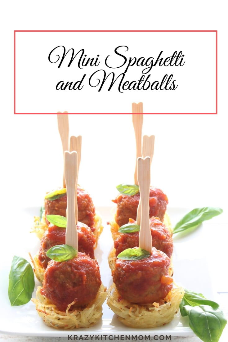 Looking for a fancy and easy party appetizer? Well, look no further - behold the Mini Spaghetti and Meatball Appetizer. Ready in just a few minutes! via @krazykitchenmom
