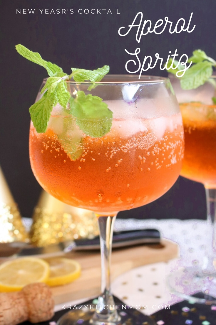 New Year's Eve Aperol Spritz - Ring in the new year with one of 2019's hottest cocktails, The Aperol Spritz made with Aperol and Prosecco. via @krazykitchenmom