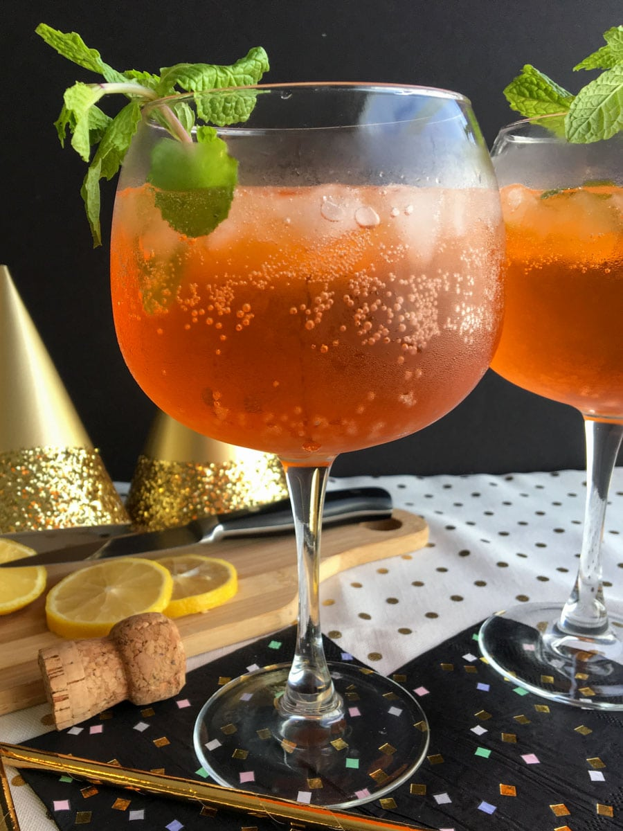 aperol spritz with new year decorations