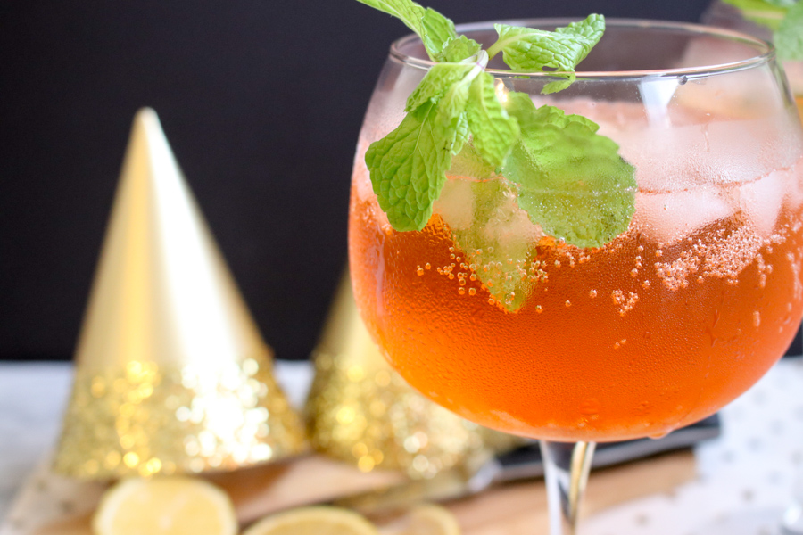 NYE Aperol Spritz in a glass