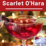 Scarlet Ohara Cocktail with Christmas tree in background