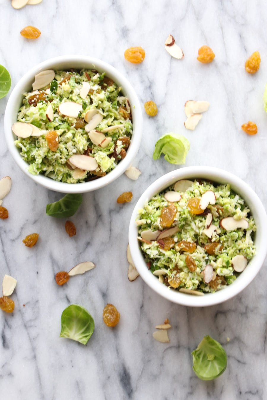 Two bowls of brussels sprouts salad